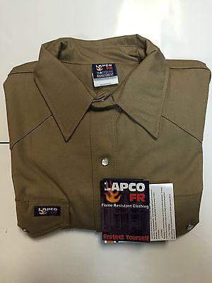 Lapco 7oz Flame Retardant Khaki Work Shirt Large