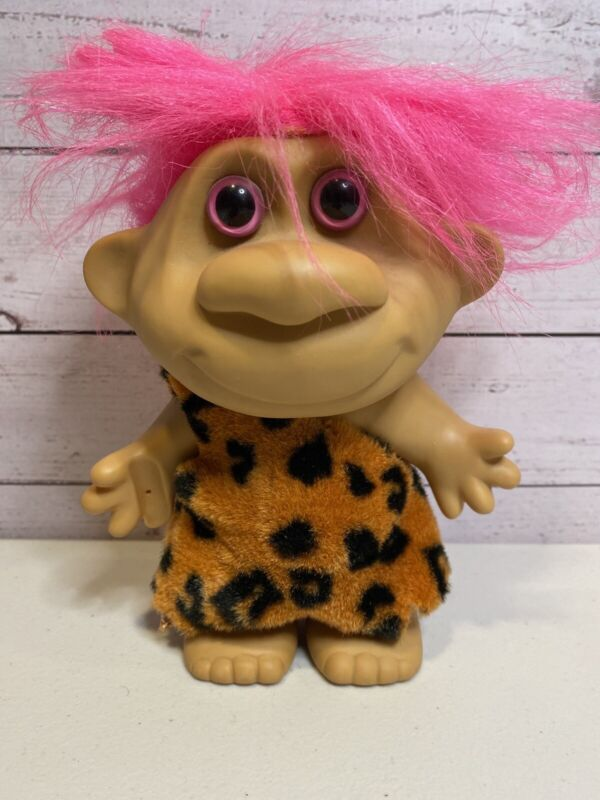 """Vintage Troll Caveman Doll 7""""  Faux Fur Outfit Pink Hair & Eyes Made In China"""