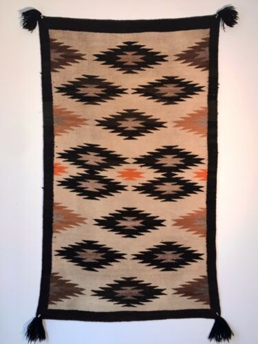 SPECTACULAR 1930S NAVAJO DOUBLE SADDLE BLANKET,GERMANTOWN TASSELS,MINT CONDITION