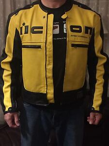 Xl Icon full leather motercycle jacket with liner