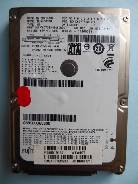 Fujitsu MJA2500BH  G2 | PN: CA07083 | 2010-01-31 | 500 GB