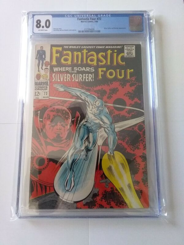 Fantastic Four #72  CGC 8.0  Silver Surfer & Watcher Appearance 1968!