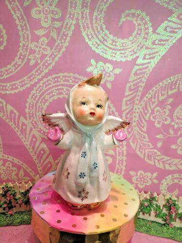 Vtg Christmas Angel W PINK MITTENS Green Scarf Gold Snowflake Dress Gold Shoes