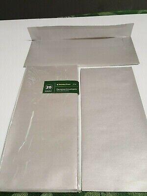 10 Square Envelopes Flap 4 18 X 9 12 - Designer Silver Shimmer 20 Count