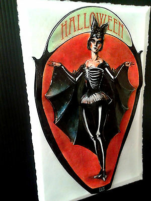 Closeout Sale Halloween BatGirl Vintage Halloween art in 3-D Poster 11x17