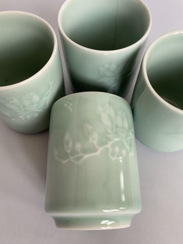 Korean Floral Celadon Tea Cups