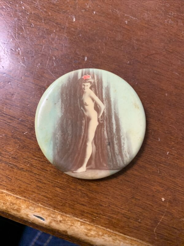 "Antique Celluloid 1900s Pocket Mirror Risque Nude Woman 1.75"" Colorized"