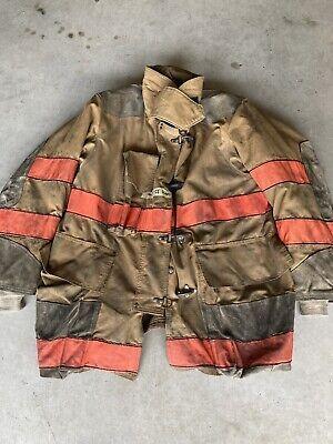 Firefighter Turnout Bunker Coat Globe 46x35 No Cut Out Costume 2002 Orange Trim