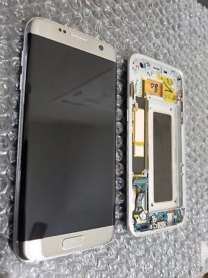 Excellent Samsung Galaxy S7 Edge G935a Silver Lcd Digitizer   Frame Medium Sbi