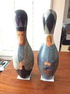 Antique folk art painted bowling pins