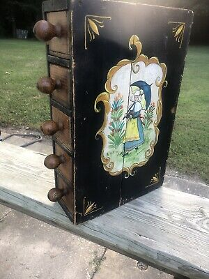 Unusual Primitive Form Antique Spice Box or Cabinet Utensil Drawer Old Art Paint