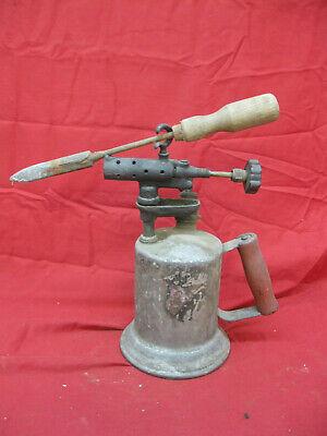 Antique Vintage Brass Gasoline Blow Torch with Original Soldering Iron
