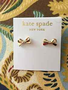 Kate Spade Statement Gold Skinny Mini Bow Stud Earring so cute for gifts