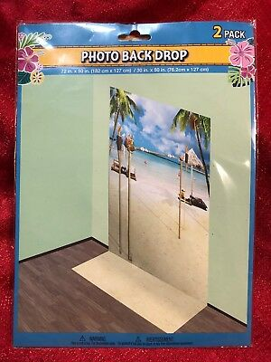 "Beach Floor & Wall Backdrop Scene Photography Props Photo Background 72""x52"" - Beach Backdrop"