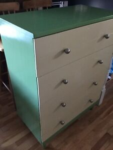 Green tall wood dresser- available