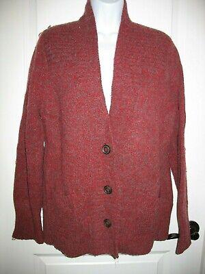 Wool Boyfriend Cardigan (Eddie Bauer Cardigan Sweater Sz XL Burgundy Wool Blend Boyfriend Style)