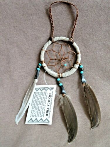 """Native Navajo Handmade 2"""" Small Size Leather Dream Catcher by D Edsitty  M286"""