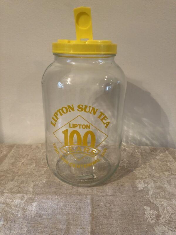 Vintage Lipton Sun Tea Jar/Jug With Lid Yellow Decal And Lid 1 Gallon FAST SHIP!