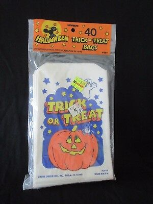 Vtg MIP 1988 Unique Industries 40 Paper Halloween Trick or Treat Bags ~ USA