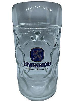 Large Lowenbrau 1 Liter Dimpled Glass Beer Stein Mug Munich München Löwenbräu