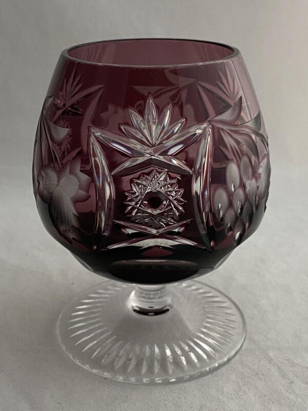 NACHTMANN TRAUBE BOHEMIAN GLASS BRANDY SNIFTER AMETHYST PURPLE CUT TO CLEAR