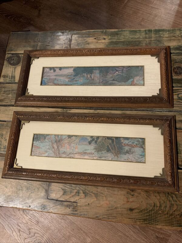 Mixed Pair of Mid Century Japanese Wood Block Prints Custom Framed Vintage
