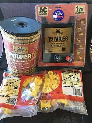 Afw Kit- 15 Mile Electric Fence Controller 12 Tape 656 Ft  50 Knob Insulator