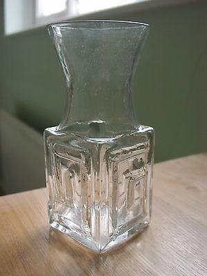 Dartington Clear Art Glass Frank Thrower Design FT58 Greek Key Vase 14.5cm