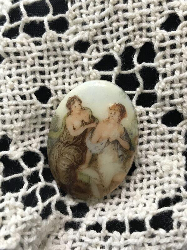 Antique Victorian Miniature Portrait Cameo Brooch Plaque, Button Front, Pendant?