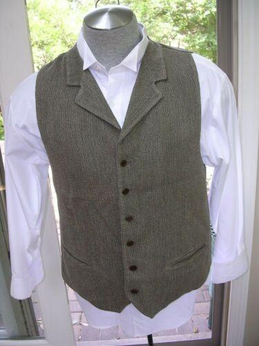 #MZ Mens Vintage Style Steampunk Dickens Brown Tweed Lapel Vest /Waistcoat Sz L