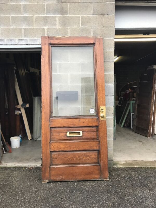 "MAR 276 antique oak entrance door beveled glass 42"" x 94.5 x 1.75"