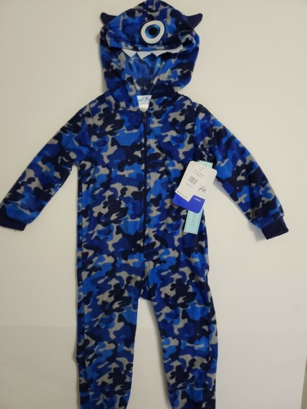 FreeStyle Hooded One Piece Fleece Pajama Size 3T NWT