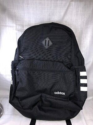 New Adidas Core Classic Backpack Black with classic 3 Stripe Tech Friendly Black
