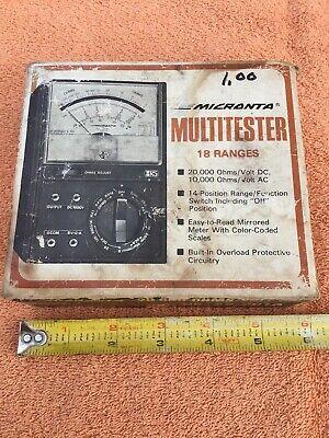 Vintage Radio Shack Micronta Multitester 18 Ranges 22-201a Wbox Manual Tested
