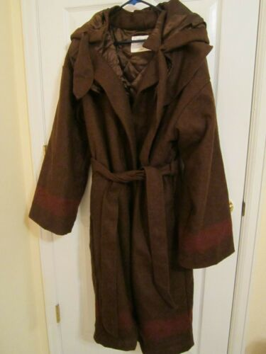 Wool Blanket Capote - Coat, brown   MENS/ WOMENS Large  LINED HOODED BELT