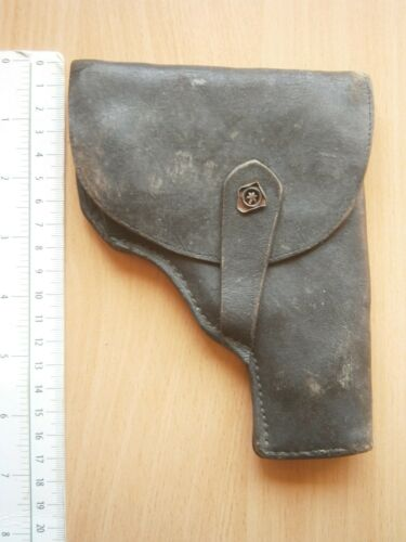WWII OLD ARMY LEATHER HOLSTER GUN PISTOL MILITARY CASE NO MARK beretta or ppk