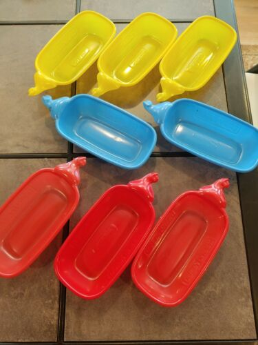 9 Vintage Dairy Queen Ice Cream Trays Sundae Boats Plastic Banana Split Dishes