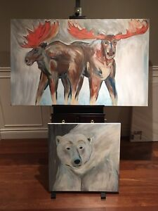 Polar bear and moose painting