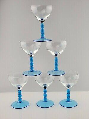 Blue Wine Glasses (Vintage Blue Ball Stem Wine glasses /cordial stems /liqueur glasses 6 5oz)