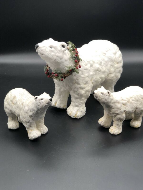 Lot 3 Polar Bears Mamma Baby Christmas Decirations Winter Coke-cola