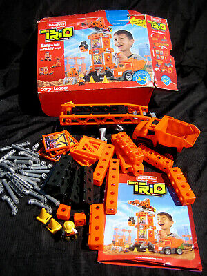 Fisher-Price TRIO Bricks, Sticks & Panels CARGO LOADER Crane Dump Truck Play Set