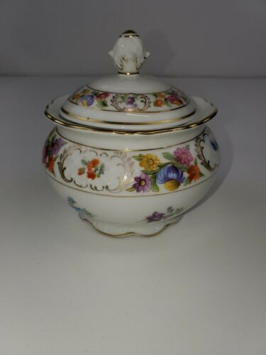 Schumann Bavaria Sugar Bowl With Lid Empress Dresden Flowers