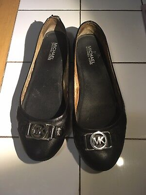 - Black Leather Michael Kors Fulton Flats MK Silvertone Logo 8