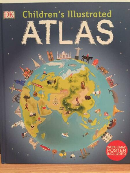 New childrens illustrated atlas with world map poster included 1 of 3 gumiabroncs Choice Image
