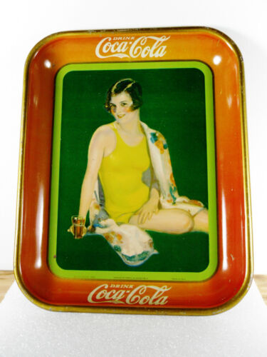 "1929 COCA-COLA Original Tray ""BATHING SUIT GIRL"" Beach Beauty Holding Coke Glass"