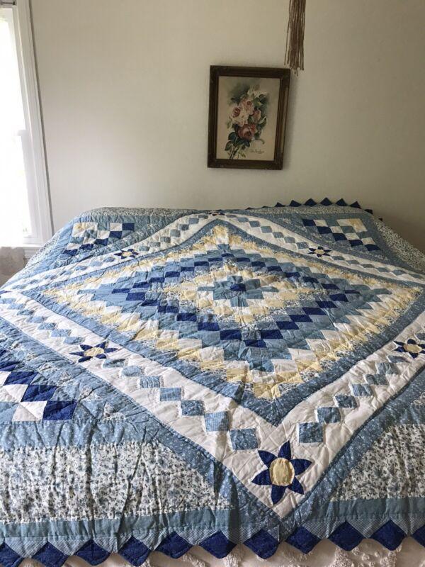 """Vintage Blue Yellow Trip Around World Quilt Pieced Excellent! Cotton 90""""X100"""""""