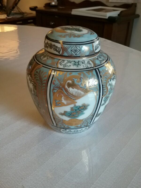 Gold Imari Ginger Jar w/Lid (Japanese) Blue/Gold Floral Bamboo Handpainted