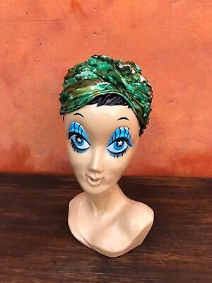 Vintage 1950s 1940s Floral Green Olive Women's Chic Turban hat