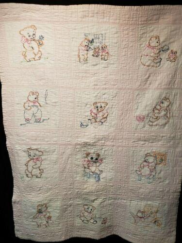 Vintage Embroidered Crib Quilt