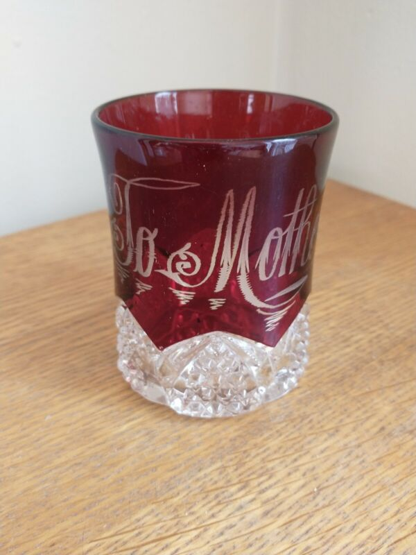 ANTIQUE RUBY GLASS CUP TO MOTHER Fill with Candy for Valentines Day Give to Mom